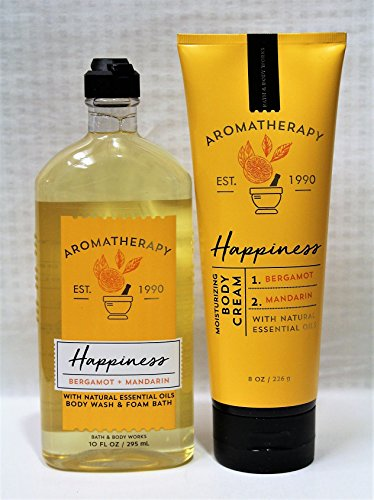 Mandarin Foam (Bath & Body Works - Aromatherapy - Happiness - Bergamot & Mandarin – Bundle - Body Wash & Foam Bath 10oz. & Body Cream 8 oz)