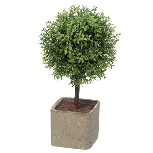 Whole House Worlds Realistic Faux Potted Boxwood Ball Topiary Tree, Gray Stone Finished Planter, 10 1/4 Inches Tall (Topiary Globe)