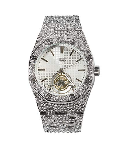 (Men's Bling-ed Out Octagonal Shape Silver Watch with Simulated Diamonds on Bezel   Japan Movement   Analog Display - Silver)