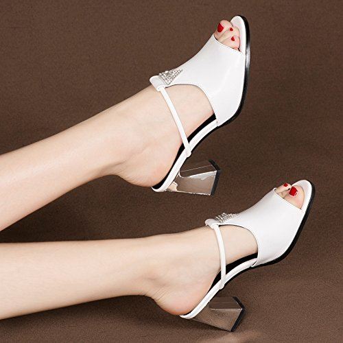 7Cm Pantofole Tacchi Sandali Da Tacchi Dita GTVERNH white Fico Summer Scarpe L'Esercitazione I Alti Donna Ftzxdq4d