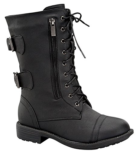 Women's Combat Military Cowboy Mid Calf Rubber Sole Lace up Ankle Buckles Strap Stean Punk Round Toe Flat Heel Motorcycle Casual Combat Boots Fashion Designer Comfort Shoes,5.5 B(M) US,Black-72