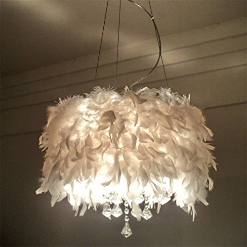 LAONA Creative crystal lamp, LED living room, study room, bedroom, simple modern European romantic feather pendant lamp,40CM-white - Romantic Chandelier Earrings