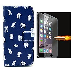 ZMY el patrón elefante cuero de la PU caso de cuerpo completo con película de vidrio a prueba de explosión para el iPhone 6 Plus