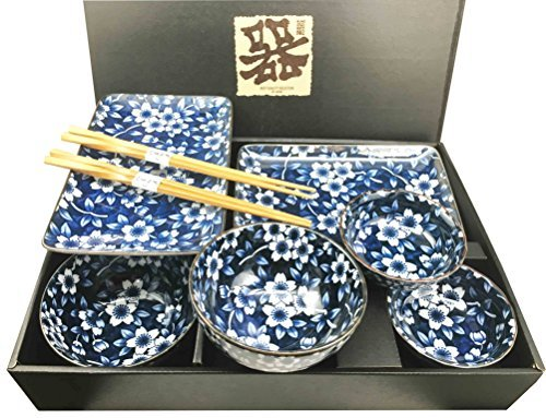 Japanese Dining Set - Made in Japan Floral Blossom Blue Motif Ceramic Sushi Dinnerware 8pc Set For Two Consisting Pairs of Sushi Plates Soup Sauce Bowls and Chopsticks Great Housewarming Gift For Sushi Enthusiasts