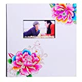Photo Albums TYJY Sticky Pages, Colored Lacquered Wooden Cover, 20 Pages (40 Faces), Creative Family Couple Album (Color : White card)