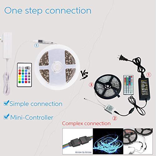 PANGTON VILLA LED Strip Lights 164ft RGB 5050LEDs Color Changing Full Kit with 24key Remote Control