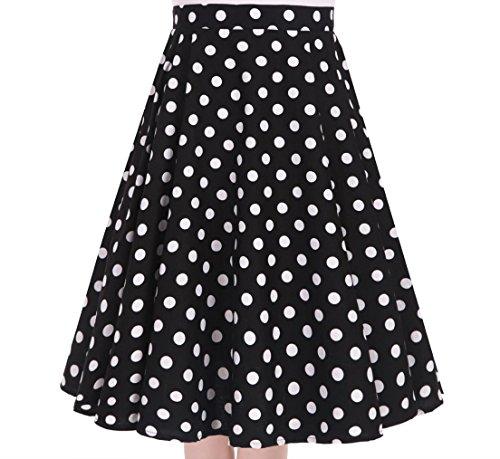 Women's 50s Vintage Inspiration Polka Dot Floral Rockabilly Full Swing Skirt (XXL (US12/UK16/EU44), Black + White Dots)