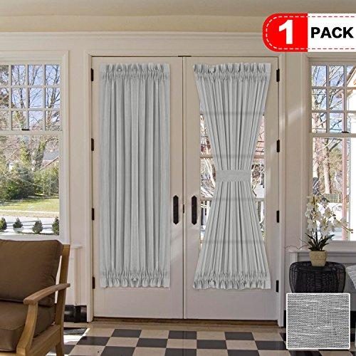 H.VERSAILTEX Elegant Linen Blended Sheer French Door Panel, Rod Pocket Open Weave Curtains for Glass Door - Bonus Adjustable Tie-Back, 52 by 72 - Dove (One Panel)