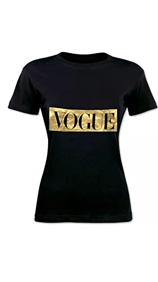 Fashion Plus - Camiseta - para Mujer Negro Black Vogue S/M 36-38