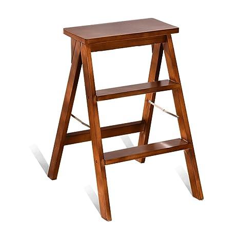 Amazon.com: QFFL tideng Step Stools Home Wood Step Stool ...