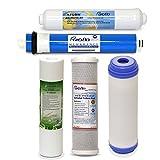 Puroflo 5pcs Ro Juego de filtros de Repuesto, 1Año purificador de Agua de ósmosis inversa de 5etapas, Debajo del Fregadero Potable Sistema Kit de filtrado