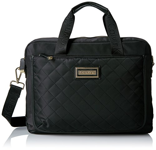 Belfast Quilted Dressy Nylon Computer Case Shoulder Bag Black Quilt, One Size by Calvin Klein