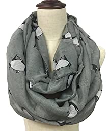 LiveBox Women's Fashionable penguins of Madagascar Print Premium Soft Infinity Voile Scarf Shawl Warp (Dark Grey)