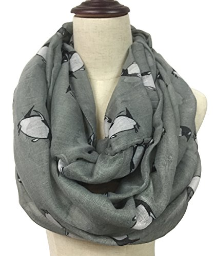 LiveBox Women's Fashionable penguins of Madagascar Print Premium Soft Infinity Voile Scarf Shawl Warp (Dark Grey)