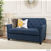 Jennifer Dark Blue Tufted Fabric Loveseat