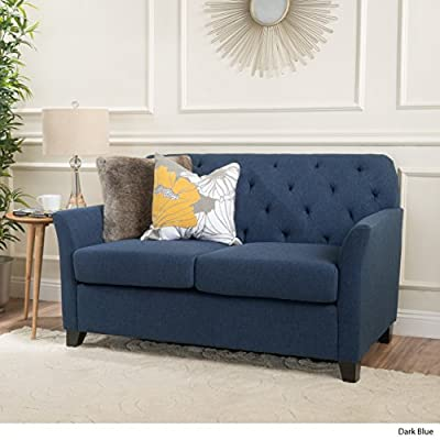 Christopher Knight Home Jessup Fabric Loveseat, Dark Blue - This Loveseat is ideal for smaller spaces. With extra padded Cushions for maximum comfort, and a Tufted Back, this Loveseat is both comfortable and stylish. The curved armrests provide a more ergonomic place to Rest against, both for sitting and resting against. You can't go wrong with this Loveseat for any room in your home. Includes: one (1) Loveseat Material: fabric. Leg Material: Birch - sofas-couches, living-room-furniture, living-room - 51MYIKyCN1L. SS400  -