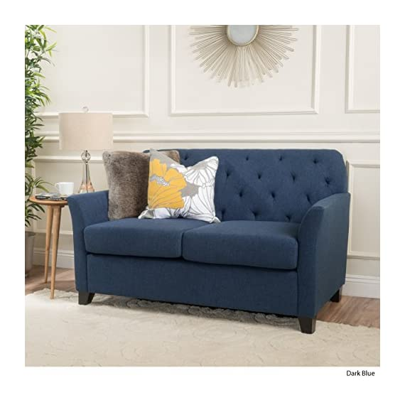 Christopher Knight Home Jennifer Dark Blue Tufted Fabric Loveseat - This Loveseat is ideal for smaller spaces. With extra padded Cushions for maximum comfort, and a Tufted Back, this Loveseat is both comfortable and stylish. The curved armrests provide a more ergonomic place to Rest against, both for sitting and resting against. You can't go wrong with this Loveseat for any room in your home. Includes: one (1) Loveseat Material: fabric. Leg Material: Birch - sofas-couches, living-room-furniture, living-room - 51MYIKyCN1L. SS570  -