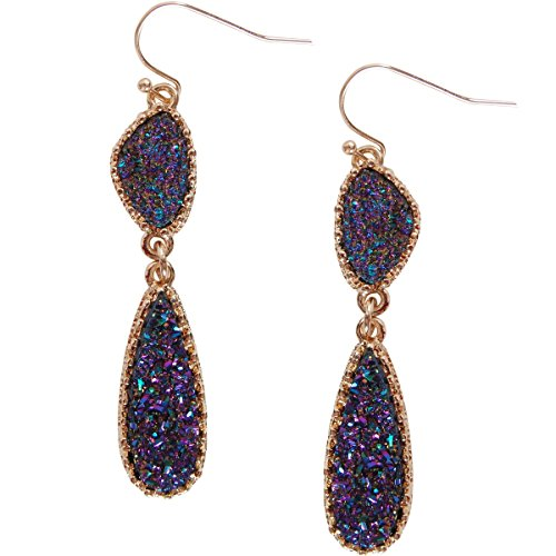 Humble Chic Simulated Druzy Drop Dangles - Long Double Teardrop Dangly Earrings, Iridescent, Peacock, Dark Blue, Metallic, Gold-Tone