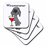 3dRose Funny Weimaraner Dog Drinking Red Wine is WINEmaraner - Soft Coasters, set of 4 (cst_245395_1)