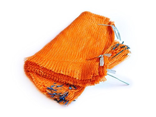 Orange Net Sacks 50cm x 78cm Holds up to 30Kg with Drawstring Raschel Bags Mesh Vegetables Logs Kindling Wood (50) Armar Trading LTD