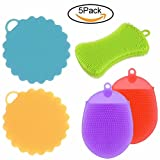 Amazing Soft Silicone Bath Shower Body Sponges for Women Men Kids Babies & Pets. 5 Pack. Heat Resistant, Antibacterial, Mildew Free, Multi-functional Sponges for Bath, Kitchen & Vegetable.