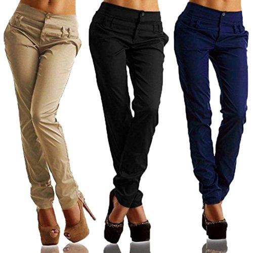 Haidean Moda Libero Elegante Slim Matita Pantaloni Lunghe Semplice Donna Primaverile Autunno Waist Trousers Fit Tempo A High Glamorous Nero Puro Colore c1rSUFW1