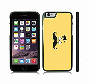 iStar Cases? iPhone 6 Plus Case with Cross-eyed Mustache Face Funny Animated Design , Snap-on Cover, Hard Carrying Case (Black)