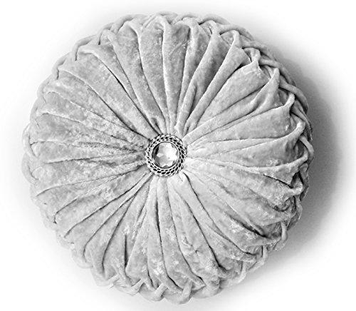 CUSHIONMANIA Cojín Redondo de Terciopelo de Lujo con Relleno de Diamante Chic de la Marca