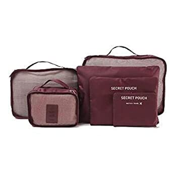 Tandou - 6 bolsas de almacenamiento impermeables para ropa de viaje, bolsa organizadora de equipaje granate