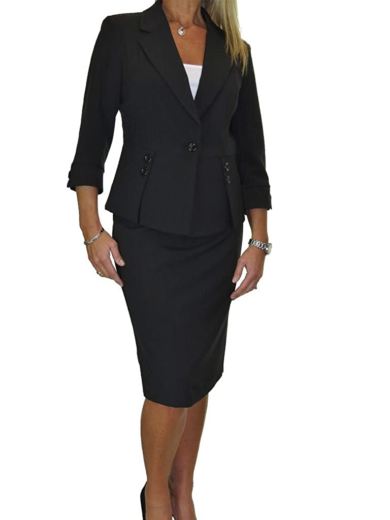 Black ICE Fully Lined Washable Designer Look Business Office Skirt Suit 418