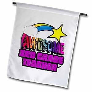 Dooni Designs- Funky impresionante diseños–estrella fugaz arco iris impresionante tercer grado profesor–18x 27inch jardín bandera (FL _ 201192_ 2)