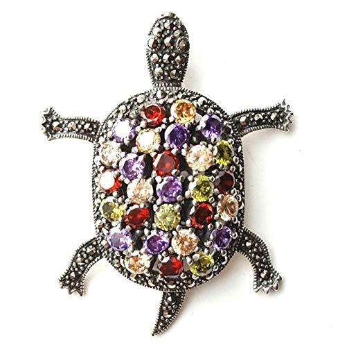 Multi Stones Turtle Pendant Amethyst Garnet Marcasite .925 Sterling Silver ВК-180 ()