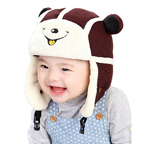 YAOSEN 2-in-1 Cartoon Winter Plush Hat Face Mask Set for Infants and Toddlers (Wine)