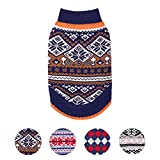 Blueberry Pet 2 Patterns Nordic Pattern Inspired Fair Isle Navy Blue Snowflakes Dog Sweater, Back Length 14', Pack of 1 Clothes for Dogs