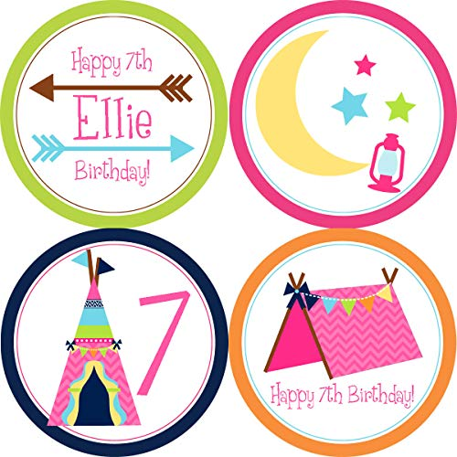 Moira Glamping Party Circles Glamping Tent Arrows Teepee Girls Camp Out Glamping Personalized Birthday Party Circles A Digital Printable File ()