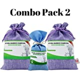 Combo Pack 2. Bamboo Charcoal Deodorizer Bag Bundle with Power Pack, Best Air Purifiers for Smokers & Allergies, Perfect Car Air Fresheners, Remove Smells for Home & Bathroom (3, Sky Blue & Purple)