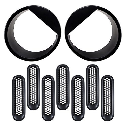Combo Matte Black Front Grill Mesh Grille Insert Set + Bezel Headlight Angry Eyelids Style Trim Cover Fit 07-17 Jeep Wrangler Jk 2D 4D