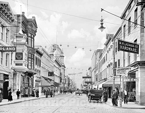 Restored Black & White Photo - Historic Charleston, South Carolina - Commerce on King Street, c1915-60in x ()