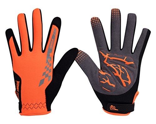 Zx Leather Glove (Wonny Sports zx-095 Full Finger Cycling Gloves, Orange)