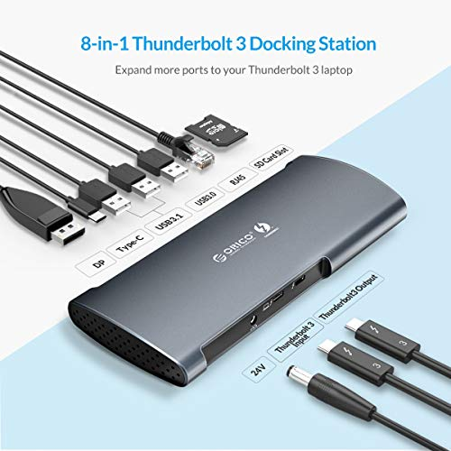 ORICO Thunderbolt 3 Docking Station Support 8k Display, 60W Charging, SD 4.0 Card Slot, USB 3.1 Gen 2, Gigabit Ethernet for 2016+ MacBook Pro & Specific Windows Laptops (2.3ft Cable)