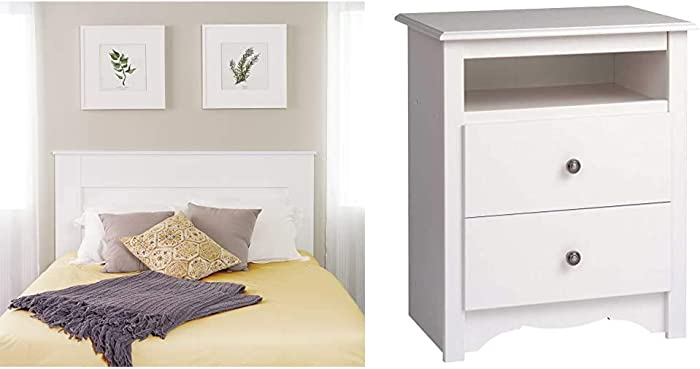 Prepac Select Queen Flat Panel Headboard White & Monterey White 2-Drawer Tall Night Stand