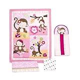 Kids Line Miss Monkey 4-Piece Crib Bedding Set, 4-Pack