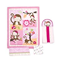 Kids Line 4 Piece Crib Bedding Set, Miss Monkey (Discontinued by Manufacturer...
