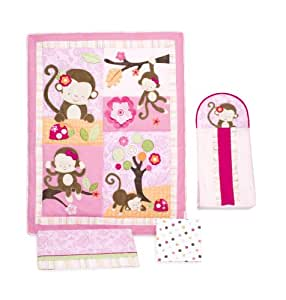 Kids Line 4 Piece Crib Bedding Set, Miss Monkey (Discontinued by Manufacturer)