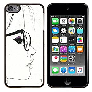 Planetar® ( Blanca del inconformista de Smart Sketch Mujer ) Apple iPod Touch 6 6th Touch6 Fundas Cover Cubre Hard Case Cover