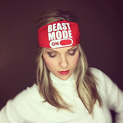 Beast Mode On. Red headband with white letters. Headbands By Hippie Runner. The #1 Choice For Athletes! No Slip, No Drip Headbands For Running, Walking, Exercise Or Fashion! ()