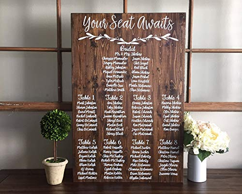CELYCASY Wedding Seating Chart Sign Your Seat Awaits Wedding Seating Plan Sign Alternative Wedding Find Your Table Seating Plan Sign ()
