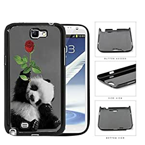 Smiling Baby Panda Bear With Red Rose Hard Plastic Snap On Cell Phone Case Samsung Galaxy Note 2 II N7100