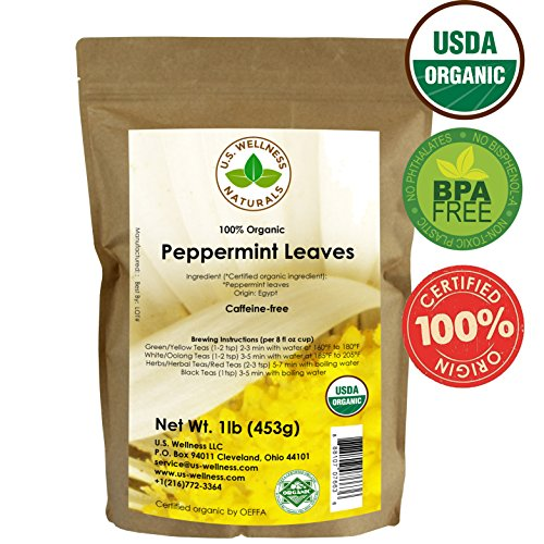 Peppermint Tea 1LB (16Oz) 100% CERTIFIED Organic Peppermint Loose Leaf (Whole Leaf) Leaf Peppermint Herbal Tea (Mentha piperita), Bulk 1 lb. stand-up BPA-free Bulk Resealable Bags from U.S. Wellness (Peppermint Leaves Tea Tea)