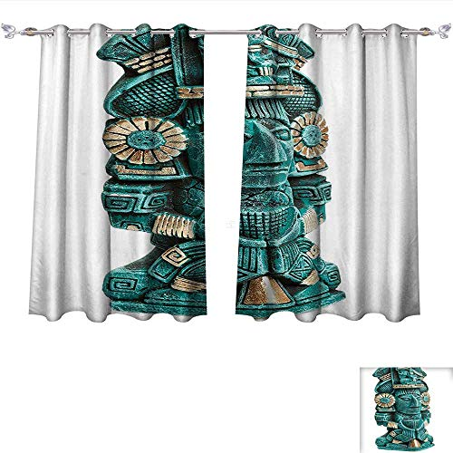 Qinqin-Home Waterproof Window Curtain Mayan Deity Statue from Mexico Ancient History Mythology Maize Art Turquoise Golden Blackout Draperies for Bedroom (W63 x L72 -Inch 2 Panels)